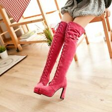 Womens Lace Up Side Zipper Buckle Tassels Heels Pumps Shoes Over The Knee Boots