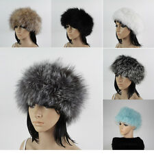 Winter warm black knitted fox fur headband head band women real fur scarf wraps