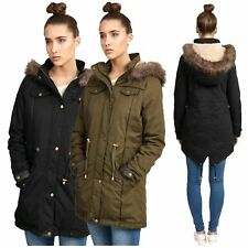 New Ladies Plus Size Khaki Fur Hooded Pu Trim Padded Winter Jackets Coats 10-26