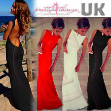 UK Women Formal Sleeveless Prom Bare Back Evening Party Bodycon Maxi Long Dress