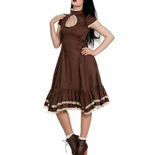 The Myrtle Adventurer Steampunk Dress. Pretty Vintage Brown Lace Trimmed Dress