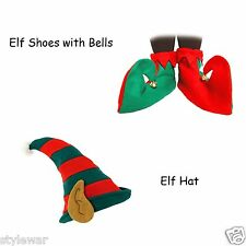 GREEN AND RED JESTER ELF BOOTS SHOES BELLS CHRISTMAS PIXIE EARS HAT XMAS SET