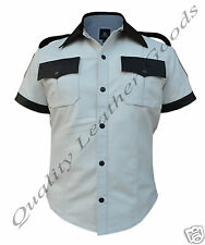 MEN 100% GENUINE SHEEP LEATHER WHITE WITH CONTRAST MILITARY UNIFORM SHIRT BLUF