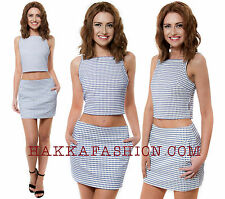 Womens Motel Rocks Anne Leigh Mini Skirt In Stretch Weave Check Pockets Co-ords