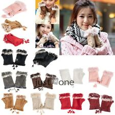 New Winter Warm Rabbit Fur Leather Lady Fingerless Suede Mittens Wrist Gloves
