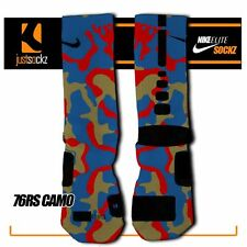 76RS CAMO Custom Nike Elite Socks basketball 76ers red blue camo unisex