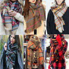 Winter Neck Warm Large Checked Plaid Scarf Tartan Wrap Shawl Stole Pashmina