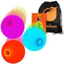 3x LED Slow Fade Rainbow Glow Juggling Balls, 'How to' Booklet, Batteries & Bag