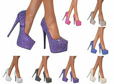 LADIES GLITTER CRYSTAL PLATFORM PARTY COURT SHOE STILETTO HIGH HEELS PUMPS SIZE