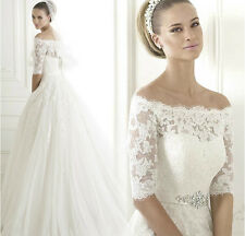 Luxurious lace winter boat neck sash crystals long sleeve wedding dress 2015