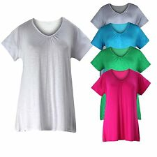 Ladies Womens Plus Size Short Sleeve V Neck Casual T-Shirt Tunic Top