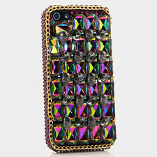 iPhone 6 6S / 6S Plus 5S Bling Crystal Case Cover Purple AB Skulls Gold Chain