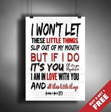 ONE DIRECTION 1D Little Things LYRICS POSTER TYPOGRAPHIC MUSIC SONG ART A3 / A4