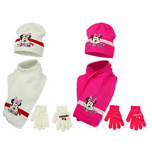 Brand New Girls Kids Minnie Mouse Winter Hat, Gloves And Scarf 3 Piece Set