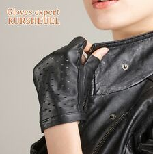 Custom Made Modern Punk Women's GENUINE LAMBSKIN leather Warm Fingerless gloves