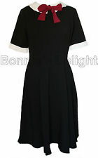 NEW HELL BUNNY BLACK KIM 1950S 1940S RETRO PARTY PROM PIN-UP VINTAGE DRESS 8-16