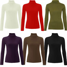 LADIES WOMEN RIBBED POLO ROLL NECK LONG SLEEVE JUMPER TOP COTTON-UK SIZE 8-22