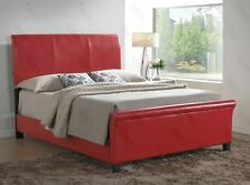 Bed Frame Upholstered w/ Headboard Faux Leather TWIN Full Queen King Size