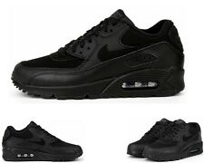 BOYS NIKE AIR MAX 90 GS 307793 091 BLACK LEATHER GIRLS TRAINERS UK 3 - 6