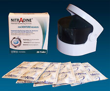 Sonic Denture Cleaner Bath & 20 Nitradine Tablets ~ Cleaning & Disinfecting