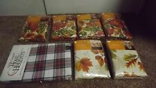 "VINYL & FABRIC TABLECLOTH  SIZES 60"" 52X90 60X84 FLOWERS FALL LEAVES AUTUMN NEW"