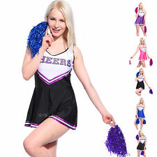 School Cheerleader Costume Cheer Girls Women Fancy Dress Glee Outfit w/ Pompoms