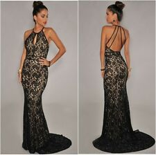 Halter Neck Lace Fish Tail Maxi Dress Evening Gown Party Prom Gala Black/Nude
