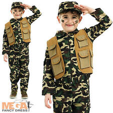 Army Boy's Fancy Dress Military Kids Soldier Uniform Childs Costume Outfit + Hat