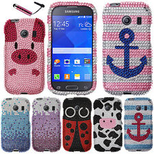 FOR SAMSUNG GALAXY ACE STYLE S765C Waterfall Blue HARD Bling Case Cover + Pen