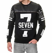 Young Rich 943 Schwarz Stepp Sweater 7 Seven Pullover Sweat Shirt Pulli Gesteppt