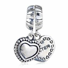 Sterling Silver 925 European Charm I Love My Special Sister Heart Bead 99276