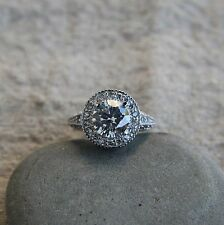 Huge Art Deco 925 Sterling Silver 2.3 ct Round Halo CZ Engagement Ring SE23