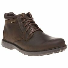 New Mens Rockport Tan Rugged Bucks Leather Boots Lace Up
