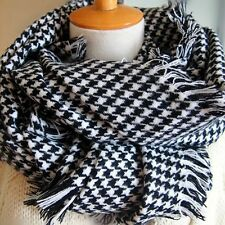 Fashion Winter Large Cotton Cashmere Wrap Houndstooth Scarf Shawl Black White