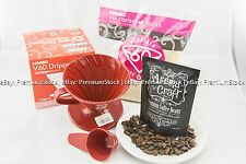 HARIO 02 Red Dripper Natural Paper filters Coffee Bean Nicaragua Blends Gift Set