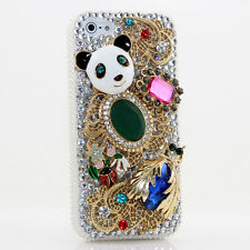 iPhone 6 6S / 6S Plus 5S Bling Crystals Case Cover Panda Gold Pendants Diamonds