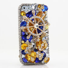 iPhone 6 6S / 6S Plus 5S Bling Crystals Case Cover Grey Blue Gold Helm Anchor