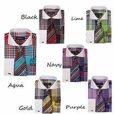Men's Check Design Dress Shirt  French Cuff With Tie&Hanky   AH-626