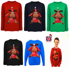 New Girls+Boys 3D Singing Reindeer Toy Knitted Christmas Jumper Sweater