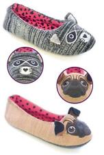 LADIES WOMENS NOVELTY BALLET SLIPPERS KNITTED PUG/RACOON SLIP ON CHRISTMAS GIFT