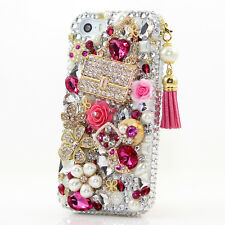 iPhone 6 6S / 6S Plus 5S Bling Crystal Case Cover Silver Pink Flowers Pearls