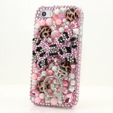 iPhone 6 6S / 6S Plus 5S Bling Crystals Case Cover Pink Black Leopard Ring Pearl