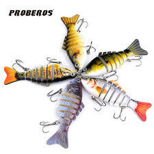 "4"" Multi Jointed Proberos Fishing Lures Bait Swimbait Life-like Sink Hook Tackle"