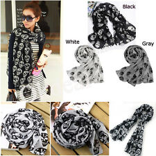 New Fashion Women Lady Accessories Skull Head Soft Long Wrap Scarves Shawl Scarf