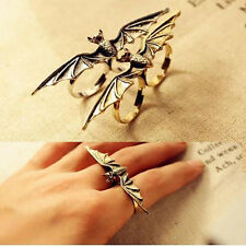 Vintage Retro Womens Girls Punk Gothic Bat Batman Style Double Fingers Ring Gift