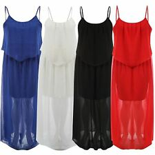 New Ladies Plus Size Strappy 2 Layered Long Chiffon Evening Maxi Dress 18-24