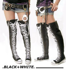 RTBU 35 Hole Punk Rock Over Knee Thigh Hi Canvas Sneaker Trainer Lace up Boots