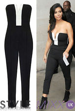 Womens Celebrity Style Monochrome Strapless Trouser Jumpsuit Onesie Dress 8-14