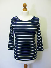 STRAWBERRY BAY BY EMRECO ROSE NAVY STRIPE 3/4 SLEEVE TOP RRP £35 SAVE 30%