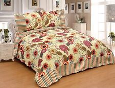 3 Pcs Yellow Pattern Microfiber Quilt Bedspread Set King Queen Full Twin Size